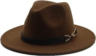 HongJie Hou Men Women Wool Fedora Hat Wide Brim Hat Autumn Fascinator Jazz Hat Casual Wild Jazz Hat Size 56-58CM