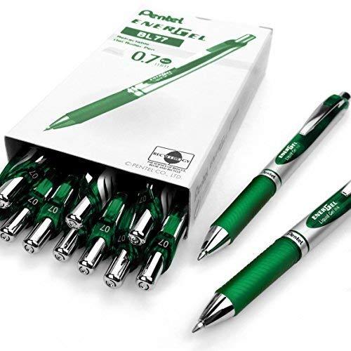 Pentel, EnerGel XM BL77,einschiebbarer flüssiger Gelschreiber, 0,7mm,54 {5b4e75b5eb73d6fb7e393dee5fcce1c4278da9939a99f6570348ea6bdfa12c04} recycelt, 12Stück grün