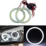 TIDO 2 Pcs White 80MM COB Angel Eyes Car Halo Ring for Headlight,COB DRL Halo Ring Angel Eyes for Motorcycle,12V