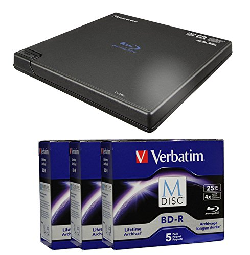 Pioneer 6X BDR-XD05 Portable USB 3.0 Blu-ray Burner Bundle with 15 Pack M-DISC BD - Supports BDXL, BD, DVD, and CD Media (Black, Retail Box)