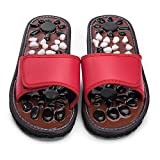 Relaxally Acupuncture Massage Slippers Shoes Sandals Cobblestone Foot Massager Healthcare Christmas Gift for Mom dad (Red27)
