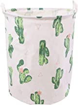 Jacone Large Laundry Basket Canvas Fabric Waterproof Cylindric Laundry Hamper Storage Basket with Handles, Decorative and ...
