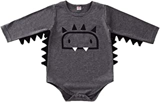 Xifamniy Infant Baby Autumn Romper Cartoon Monster Pattern Round Neck Cotton Jumpsuit