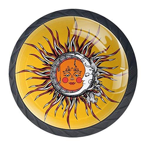 Sole e luna etnici Pomelli per Porta 4 Pezzi Manopole per Mobili da Cucina Pomelli per Mobili Pomelli Per Cassetti/Cucina/Armadio Antichi