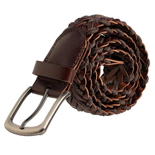 DG HillLeather Braided Belt For Men Brushed Finish Metal Buckle