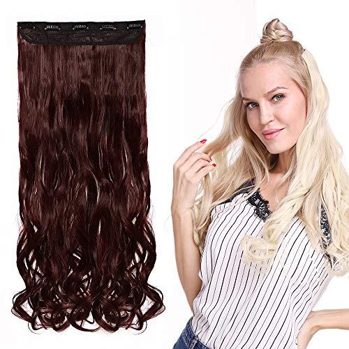 Monobande Cheveux A Clip Pour Extension Longue Rajout Cheveux A Clip Synthétique Cheveux Ondulé Une Pièce 5 Clips, 24 Pouces, Vin Rouge
