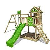FATMOOSE Spielturm RockyRanch Roll XXL - Klettergerüst mit Stelzenhaus