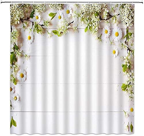 Cortina de ducha gerberiana blanca floral verde hoja en tablero de madera rústica fresca y simple decoración de tela para el hogar, juego de decoración de baño incluye ganchos de 176 x 172 cm