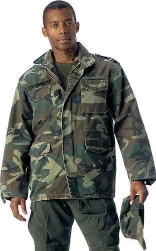 SML Vintage Military Jacket M-65 Woodland Defender Camouflage Jacket
