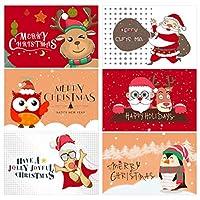 母の日クリスマスカードサンキューカードフローラクリスマスグリーティングカード封筒付き正月冬休みメモカード15X20Cm(展開サイズ)-E_6Pcs