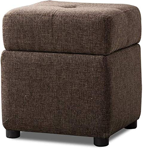MJMJ Upholstered Footstool Foot Stools and Pouffes with Storage,Ottoman Cube Boxes Linen Fabric Salon Stools Chair 4 Wooden Legs for Living Room Bedroom Foot Rest Storage Footstool(Color:Darkbrown)
