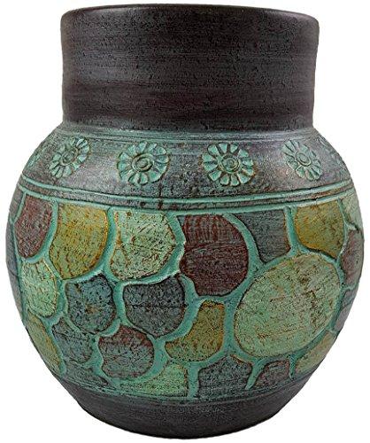 Rotfuchs Vase Bodenvase Tonvase Terracottavase Blumenvase aus Ton 30 cm Handarbeit Dekoration Türkisgrün Gold
