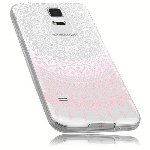 mumbi Funda Compatible con Samsung Galaxy S5 / S5 Neo Caja del teléfono móvil Avec Motif Mandala, Rosa trransparente