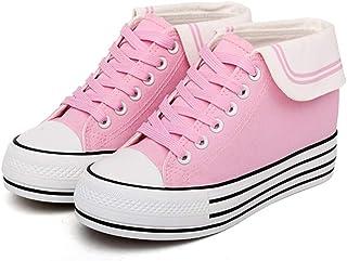 Zapatos de Lona de Las Mujeres de la Solapa High Top Lace Up Color Mezclado de la Plataforma Plana Estilo clásico Zapatos Casuales Femeninos Ocio Moda Zapatillas de Deporte