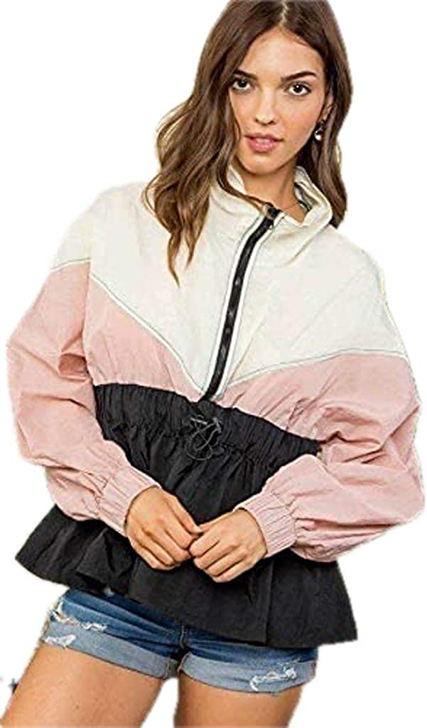 Shop & Buy High Neck Zipper Waist Elastic Long Sleeve Bottom Ruffle Color Block Windbreaker