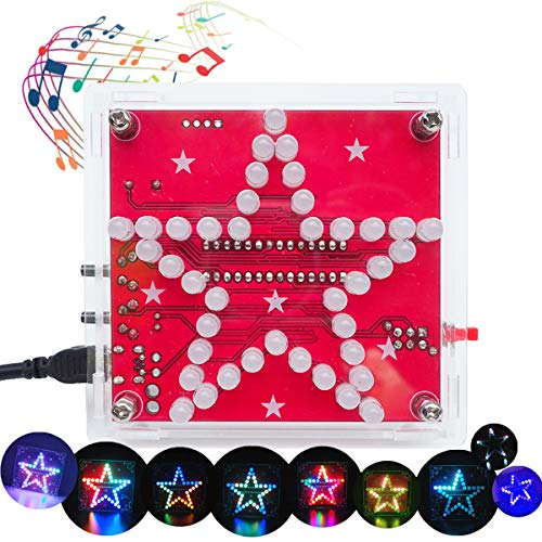 VOGURTIME Star Shaped Soldering Practice Kit Electronics DIY Soldering Project, Colorful Flashing with Beep Music for Practicing Assemble, Creative Present, New Version
