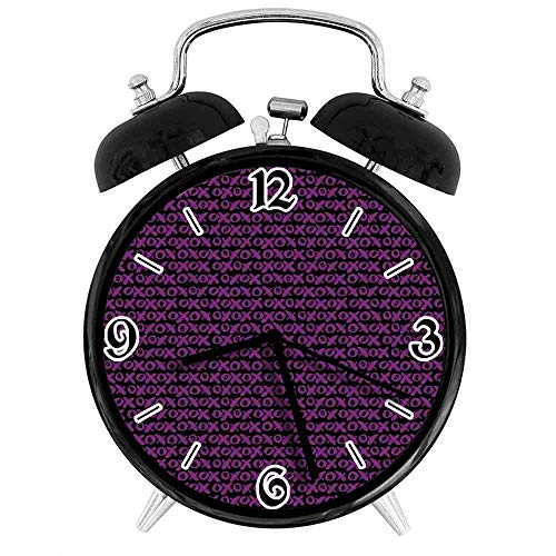 BeeTheOnly Exquisito Reloj Despertador Funky Brush Stroked Crooked Hand Lettering Retro XOXO Signs, Adecuado para Estudio de Dormitorio de Oficina