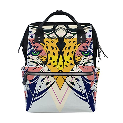 COOSUN Fashion Luipaard hoofd luier veranderen tas luier rugzak met geïsoleerde zakken wandelwagen banden, grote capaciteit multifunctionele stijlvolle luiertas voor mama pa outdoor
