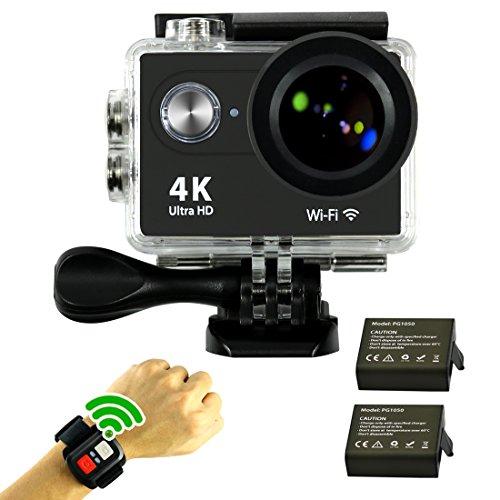 """SmilyDirect® Action Cam WIFI 4K FHD Sport Action Camera Impermeabile 1080P 170 ° Grandangolare 2.0"""" Schermo LCD Impermeabile con 2 batterie e kit accessory inclusi Remote Controller"""