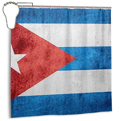 Bandera de Cuba o Bandera Cubana en Textura de patrón áspero, Cortina de Ducha de decoración del hogar 72inX72in