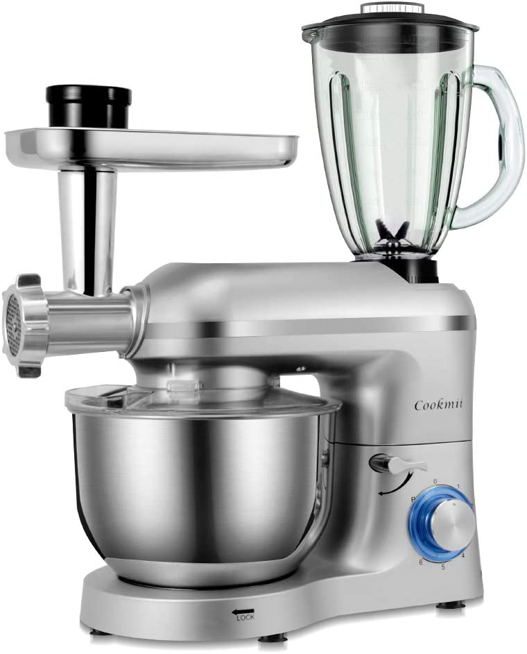Cookmii 1800W Robot de Cocina Multifunción 3-En-1, Batidora Amasadora Reposteria, Picadora, Batidora de Vaso,con Un Tazón De Acero Inoxidable, 5.5L,Plata