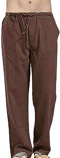 oneforus Pantaloni da Jogging Stile Cinese per Uomo in Cotone e Lino a Righe
