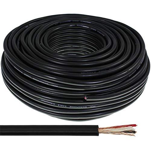 Mikrofonkabel RUND 50m schwarz - 2x0,34mm² - OFC Innenleiter