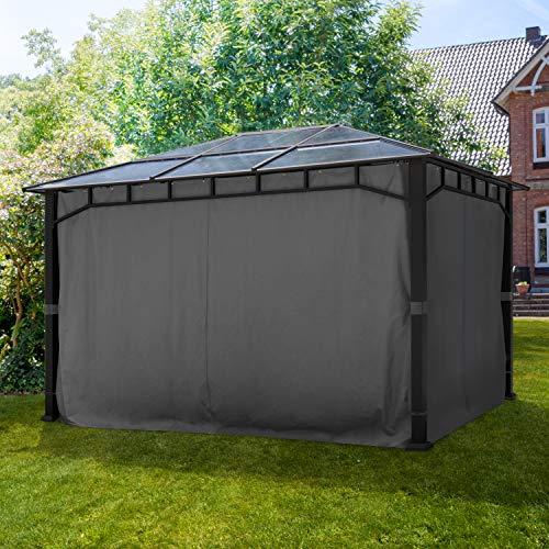 TOOLPORT ALU DELUXE Garden Gazebo 3x3m waterproof approx. 8mm polycarbonate roof pavilion 4 side walls/panels Party Tent grey 9x9cm profile