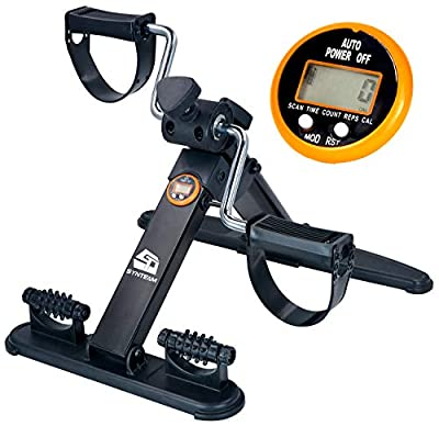 Synteam Mini Exercise Bike Pedal Exerciser Folding Portable Exercise Peddler with Electronic Display for Legs and Arms Workout with Massage Function