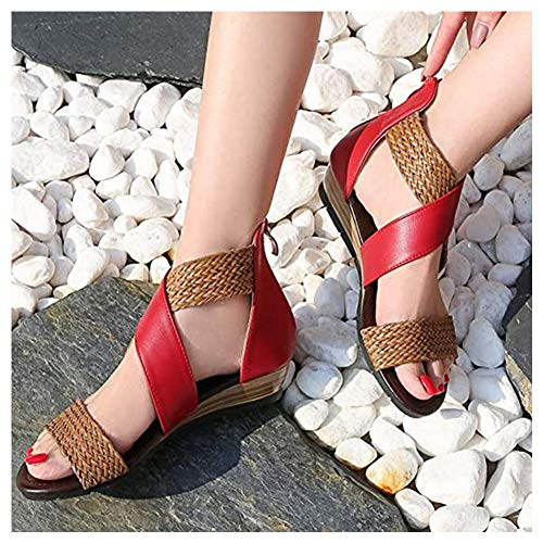 LiHong Dames Plateau High Heels sandalen zomer leder open punt schoen Romeinse gesp enkel hennep strandschoenen reizen verband gebreid