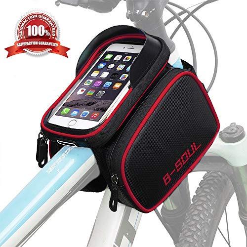 WeyTy Fahrradtasche Rahmentaschen, Wasserdichter Fahrrad Handytasche Mountainbike Oberrohrtasche Sensitive Touch-Screen, Abnehmbar Handyhalterung Tasche mit Kopfhörerloch für 6.2Zoll Handy (Schwarz)