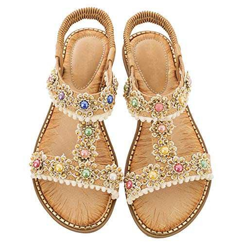 Flache-Sandalen -Damen Open-Toe Strass Sport-Thongs Schuhe Gold 38 EU