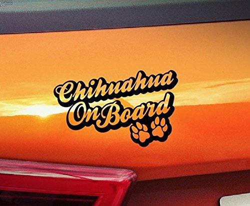 spb87 Chihuahua aan boord - Honden aan boord, huisdier puppy, dier lijm poten Vinyl gouden venster Sticker hond