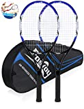 Fostoy Adult Recreational Tennis Racket, 27 inch Tennis Racquet with Carry Bag, Professional Tennis Racket, Good Control Grip, Vibration Dampe (2 pcs)