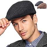 LADYBRO Black+Brown Wool Ivy Cap - 2Pack Men Hat Newsboy Cap Driving Cap Tweed Flat Hat (1-2,L/XL)