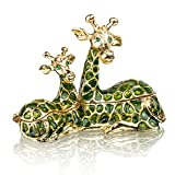 Sitting Mum and Baby Giraffe Ring Holder Hinged Trinket Boxes for Gifts,Jewelry Boxes Organizer Holder