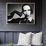 jzxjzx Marilyn Manson Schwarz Und Weiß Leinwand Malerei Poster Und Drucke Für Wohnzimmer Keine Gerahmte Wandkunst Bild Wohnkultur