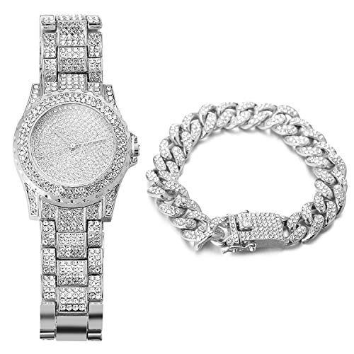 Halukakah Reloj de Oro Hombres Iced out,Platino Plateado en Oro Blanco Pulsera de Cuarzo 8.7'(22cm),con Pulsera Cubana 8'(20cm),Cz Completo Diamante de Laboratorios,Gratis Caja de Regalo