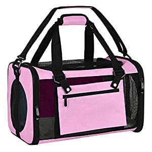 EOOORL Cat Carriers Dog Carrier Pet Carrier for Small Medium Cats Dogs Puppies of 18 Lbs, TSA Airline Approved Small Dog Carrier Soft Sided, Collapsible Puppy Carrier – Black Grey Pink Purple Blue…