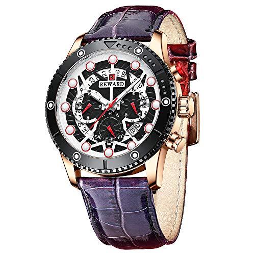 Shalwinn Reloj para Hombre Reloj De Cuero CronóGrafo Masculino AutomáTico MultifuncióN Impermeable Cuarzo Moda Ocio Regalo con Reloj,45mm,Azul