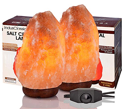 IndusClassic LN-01 Pack of 2 Natural Himalayan Crystal Rock Sea Salt Lamp Air Purifier 2~4 lbs, Hymilain Pink Lamps, Night Light, UL Listed Cord w/Dimmer Control Switch, Quality Gift Packaging