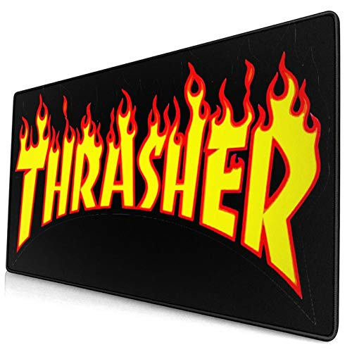 Derdeo Large Gaming Mouse Pads Thras-Her with Flame Logo Mouse Pad Mousepad Non-Slip Rubber Base Mouse Mat Rectangle Mouse Pads for Computer Laptop Pc Keyboard 15.8 X 29.5 Inches