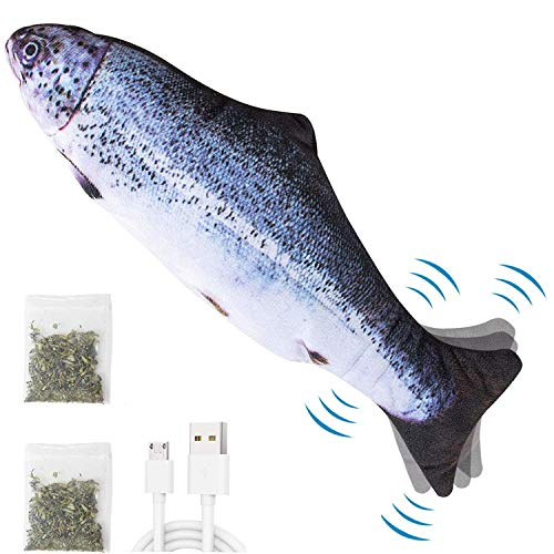 """Price comparison product image Flopping Fish Cat Toy,  Catnip Toys for Indoor Cats Ddzmz Simulation Real Fish Wagging Pet Cat Interactive Pillow Fish Can Chew Bite Kick Plush Electric Toy USB Charging for Cat Kitten Kitty 11""""(1Pack)"""