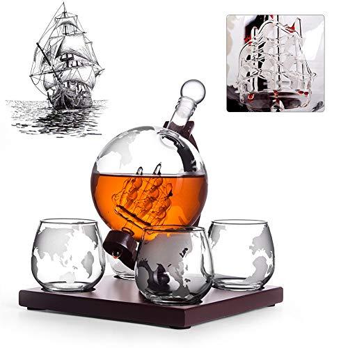 Set di Decanter da Whisky in Vetro, Globe Decanter Set, con 4 Bicchieri da Whisky Globe Incisi, I Migliori Regali per Padre E Marito, Liquore, Scotch, Bourbon, Vodka - 1000 Ml