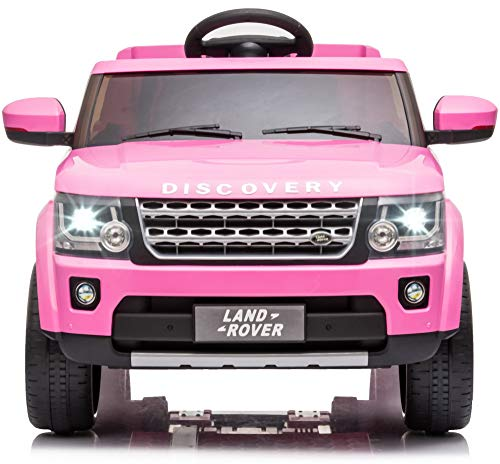 TOBBI 12V Licensed Land Rover Ride on SUV Car for Kids with Remote Control Battery Powered Electric Vehicle with 3 speeds, Spring Suspension,Mp3 Player (Pink)