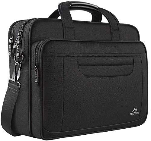 Laptoptasche 17,3 Zoll, Wasserfeste Aktentasche für Männer Frauen geräumige Business Laptop Tasche mit Griff langlebige Messenger Umhängetasche für Computer und Notebook