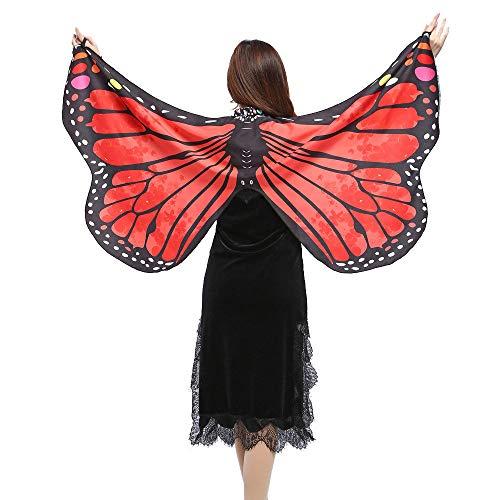 Schmetterling Kostüm Damen Flügel, Riou Erwachsene Schmetterlingsflügel Kostüm Pixie Nymphe Schal Feenkostüm für Hallowee Karneval Fasching Kostüme Party Cosplay