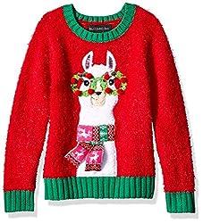 Blizzard Bay Girls L//S Crew Neck Christmas Kitty Sweater