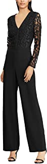 RALPH LAUREN Womens Black Lace Bodice Long Sleeve V Neck Wide Leg Evening Jumpsuit US Size: 14