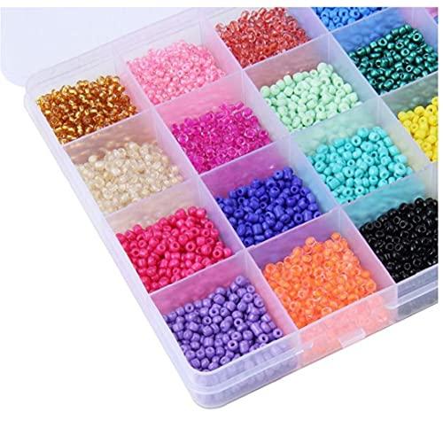 TOSSPER Beaded Craft Set Glass Semerge Beads, 3mm 24 Colores Kit De Cuentas Sueltas con Herramientas para Hacer Joyería De Bricolaje 1pc